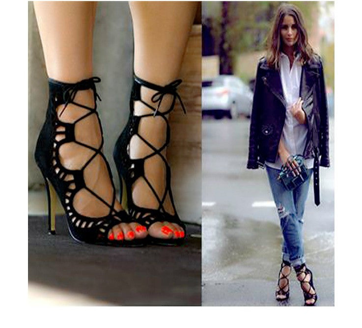 Hot-Selling 2016 Fashion velvet cutout high-heeled sandals
