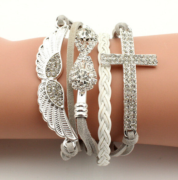 New Arrival Elegant Women Friendship Bracelets Full Stone Wings Cross Infinity
