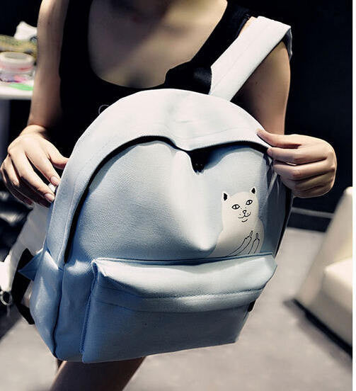 New Women Canvas Backpack Cute Cat Middle Finger