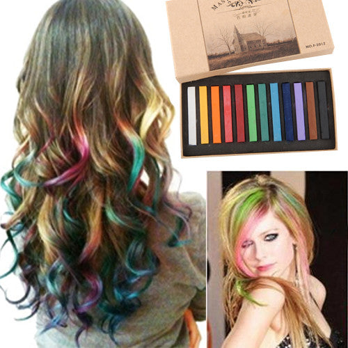 Hot Fashion Charming 12 Color Crayons for Hair Disposeble Temporary Hair Dye Chalks DIY Salon Kit Club Cosplay Party