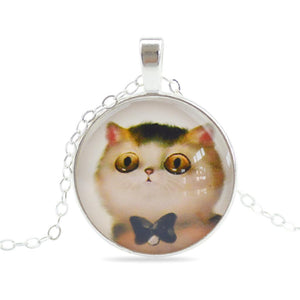 Fashion Jewelry Sweet Cat Glass Cabochon Pendant Necklace Handmade Silver Plated Chain Necklace