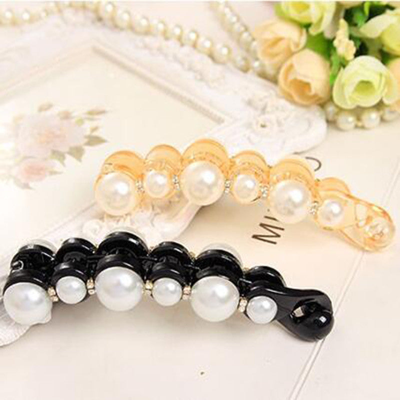 Special Design Orange & Black Beautiful Pearls Hairpins