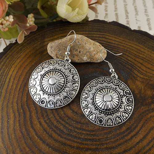 Vintage Exotic Round Drop Dangle earrings Antique Silver fashion Jewelry