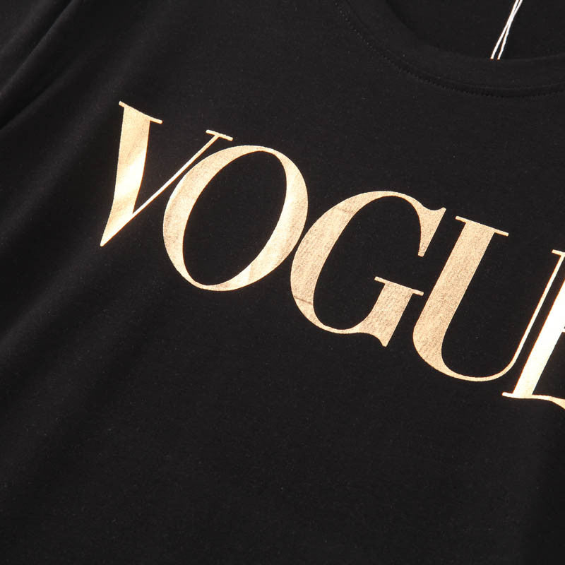 2016 Fashion Brand T Shirt Women VOGUE Printed Printed T-shirt Women Tops Tee Shirt Femme New Arrivals Hot Sale Casual