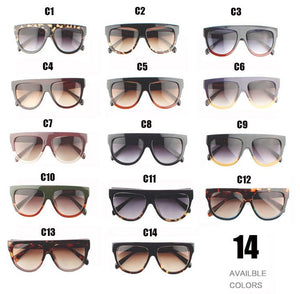 Woman Flat Top Mirror Sun Glasses Cat Eye Sunglasses