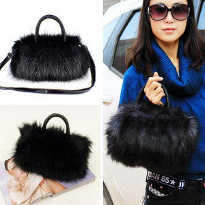 Lady Girl Pretty Cute Faux Rabbit Fur Handbag Shoulder