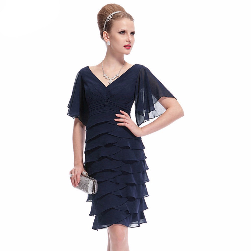 V-neck Butterfly Sleeve Ruffled Bottom Short Party Dress