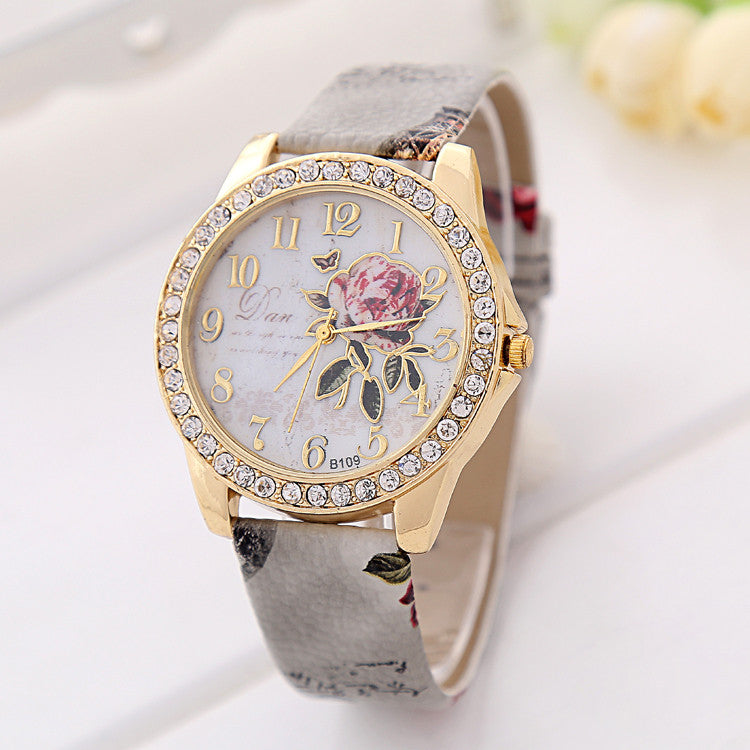 2016 New Fashion Style Peony Pattern Watch