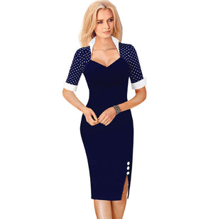 Women Patchwork Buttons Square Neck Sheath Dress