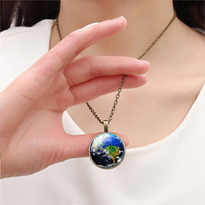 2016 Glass Cabochon Pendant Necklace Fashion Earth Jewelry Vintage Summer Style Sterling Silver&Bronze Statement Chain Necklace