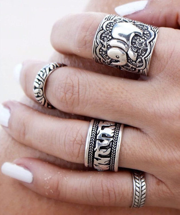 4PCS Vintage Punk Ring Sets Carved Antique Gold Silver Elephant