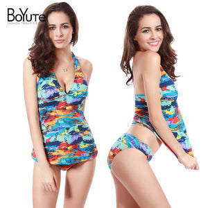 Ties Neck Halter Closured Bottom Hot 2016 Vintage Prints Plus Size Women Swimsuits Tankini M.L.XL
