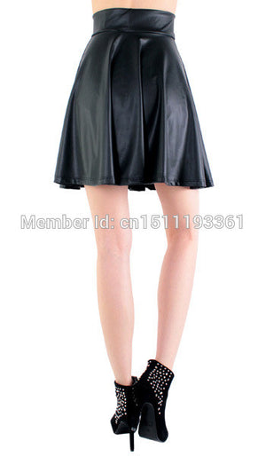 New High Waist Faux Leather Skater Flare Skirt Mini Skirt