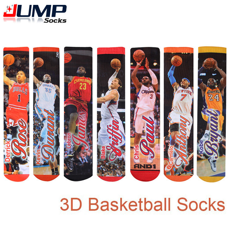 2016 summer style Fashion harajuku 3d Printed basketball socks