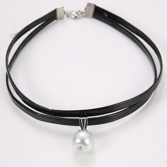 Celebrity Double Layer Black  Leather Choker Necklace Gothic Adjustable Chain  Charm Pendant Vintage Jewelry