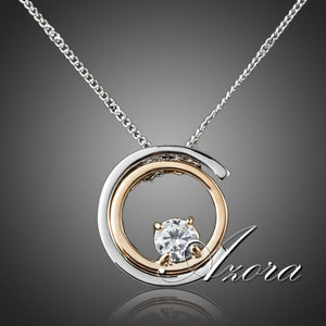 Classic Platinum Plated White SWA ELEMENTS Austrian Crystal Pendant Necklace