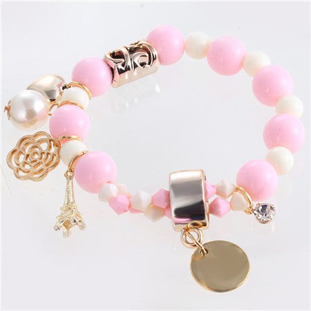7 colors 2016 new arrival fashion cute hearts romantic roses nameplate Eiffel pearl beads bracelet jewelry for women