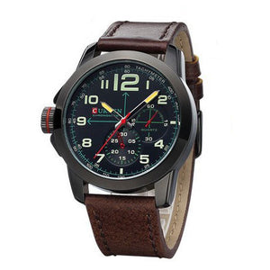 2016 New Luxury Curren Brand Leather Analog Display Men's