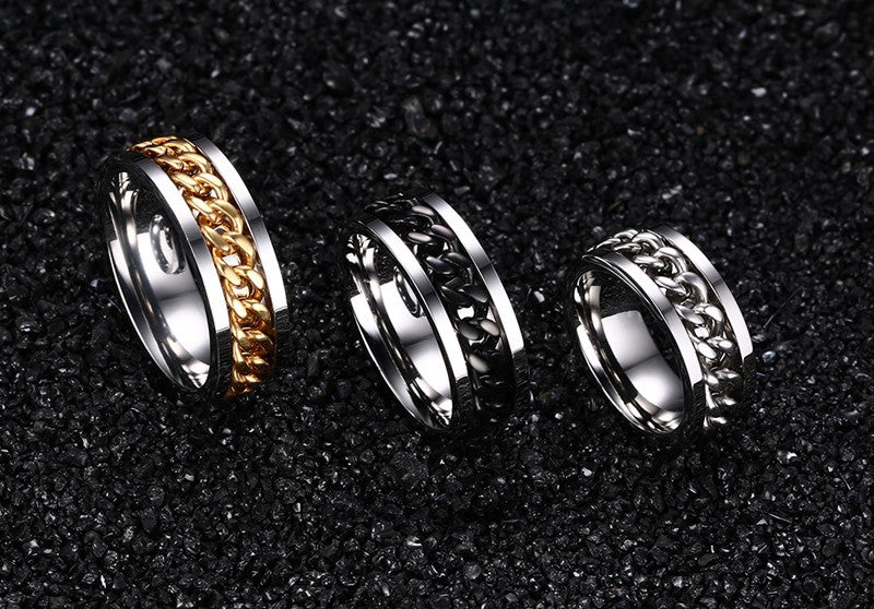 Men's ring Punk rock accessories stainless steel black chain spinner rings
