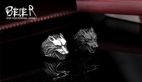 Lots Jewelry  Super Cool Wolf Rings Stainless Steel Punk Biker Man Ring