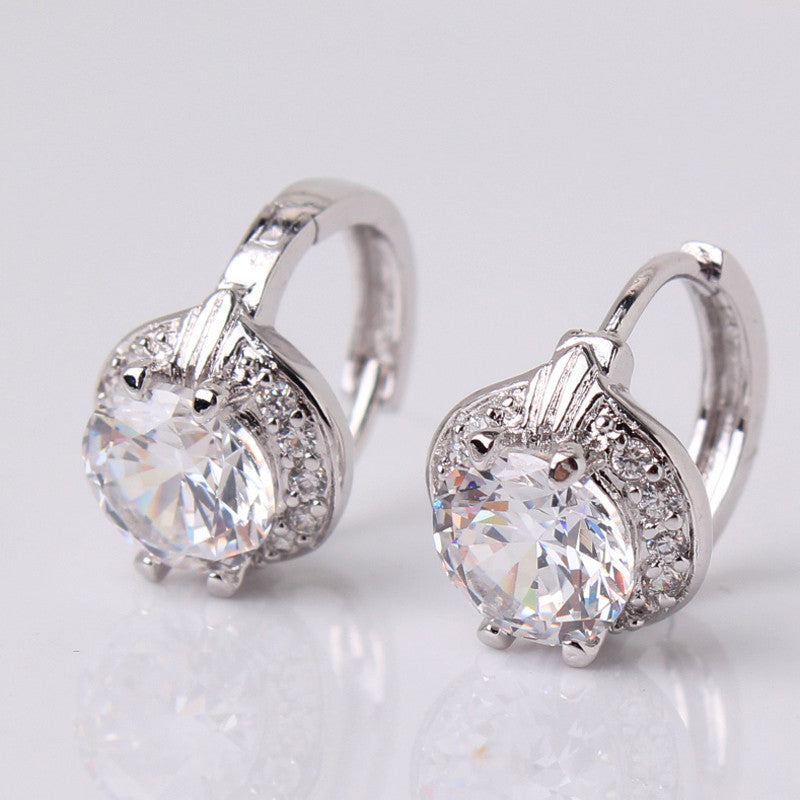 Smart Chic White Zircon Earring 18k Gold Platinum Plated Lady Cute Huggie Hoops Earrings