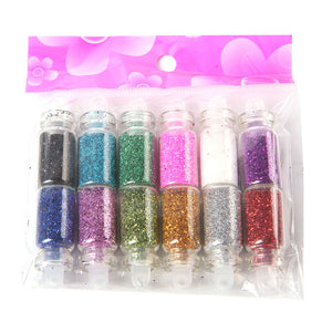 1 set 12 Color Nail Glitter Powder Dust 3D Nail Art Decoration Nail Art Bottle Tip Set - Gifts Leads