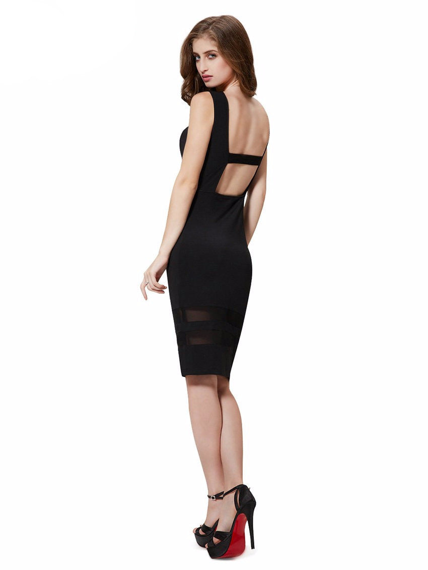 Cocktail Dresses 2016 Free Shipping Round Neck Dress Black Short vestido para formatura curto