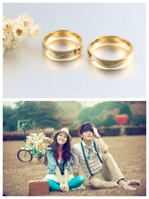 18k gold couple ring for lovers men and women with stone wedding jewelry gift - Gifts Leads