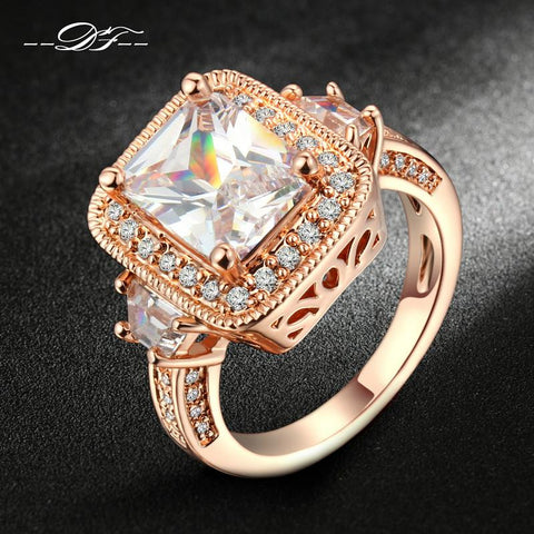 Exaggerated CZ Diamond Engagement Rings Silver/Rose Gold Plated