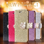 For Iphone 6 Case Gold Luxury Bling Diamond Leather Case