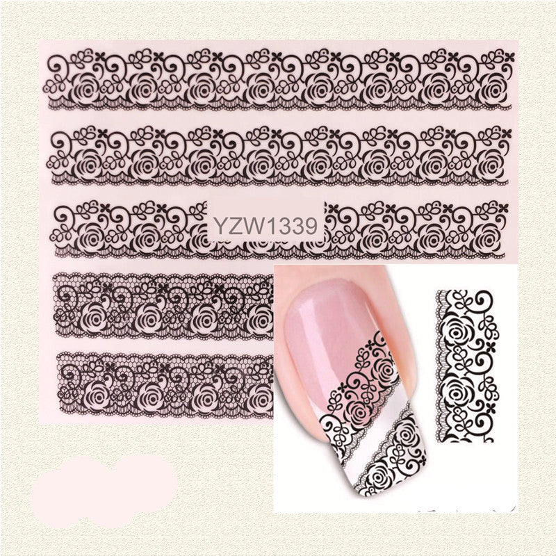 1 Sheet Black Lace Flowers Watermark Nail Sticker, Water Transfer Nail Decals For UV Gel Polish Nail Decoration Tools - Gifts Leads