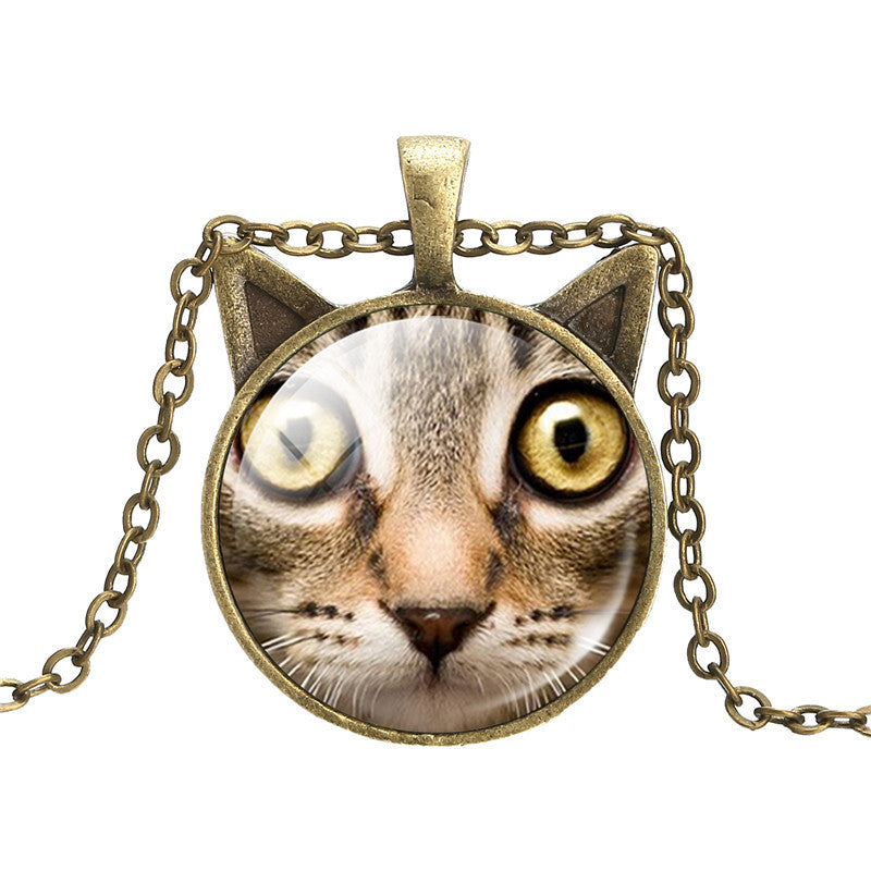 Vintage Bronze Statement Necklace Cat Art Picture Glass Cabochon Pendant Necklace Summer Jewelry Accessories for Women 2016