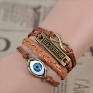 Mix Infinity love  leather love owl  Leaf charm handmade bracelet  bangles jewelry friendship gift items