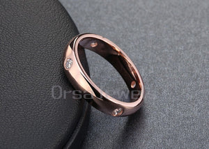 Rose Gold Women Wedding Bands with 4 Pieces Clear CZ Diamond