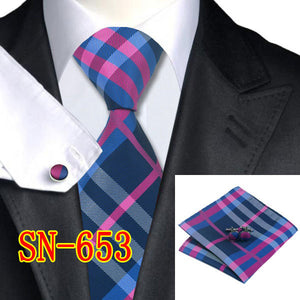 Men's 100% Jacquard Woven Silk Neckties Tie handkerchief