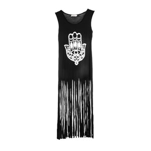 1pc High Quality 2016 Women Summer Tassel Long Dress Black Long Cotton Casual Punk Dress Sleeveless Straight Hand Print Dresses - Gifts Leads