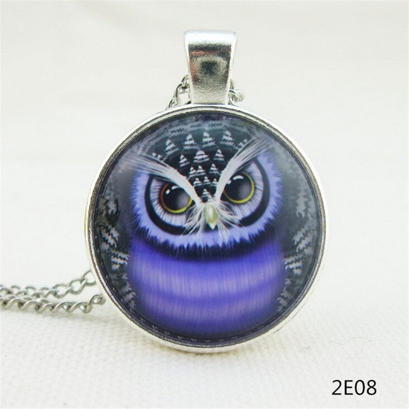 Fashion lovely vintage colorful cute OWL necklace & pendants glass cabochon necklace bronze chain cheap sale