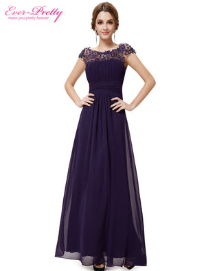 Ever-Pretty 2016 New Arrival Black Lacey Neckline Open Back Ruched Bust Evening Dresses
