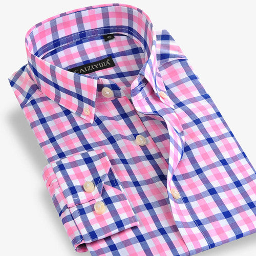 2016 Leisure Style Men's 100% Cotton Long-Sleeve Slim Fit Plaid