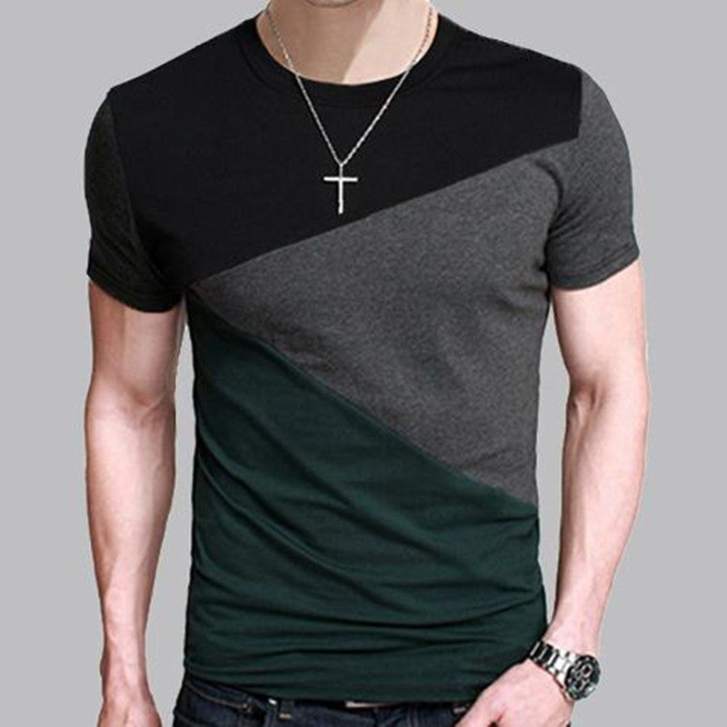 8 Designs Mens T Shirt Slim Fit Crew Neck T-shirt Men