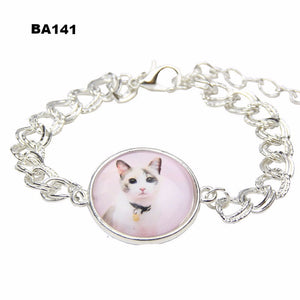 2016 Vintage Faith Jewelry Cute Cat Horse Owl Glass Cabochon Bracelet Silver Plated Galaxy Chain Bracelet Christmas Gift