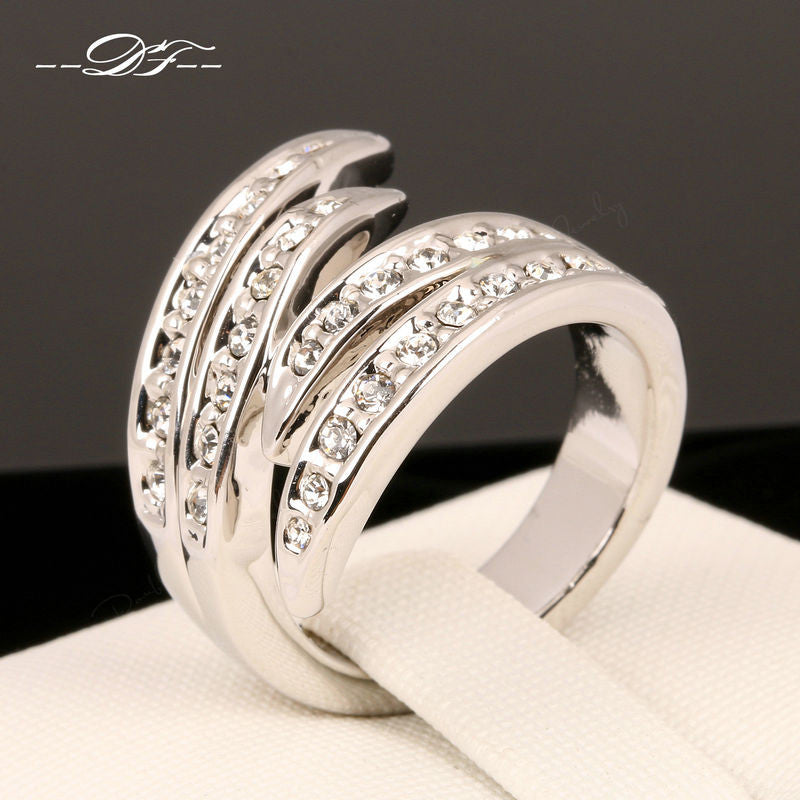 Love Angle's Wings Rhinestone Finger Rings 18K Rose Gold Plated