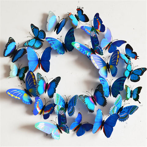 12Pcs Creative Colorful 3D Butterfly Wall Stickers Removable Home Decors Art DIY Plastic Decorations Purple/Green/Blue/Yellow - Gifts Leads