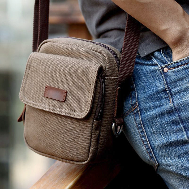 Coffee Men's Vintage Canvas Bag Small Messenger