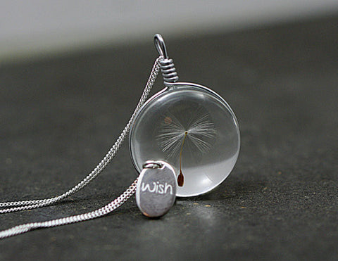 Airy real dandelion necklace  Make one wish! Real dandelion seed in glass long necklace and WISH charm