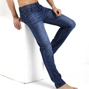 Summer Ultra Thin Jeans Men 100% Cotton Straight Long