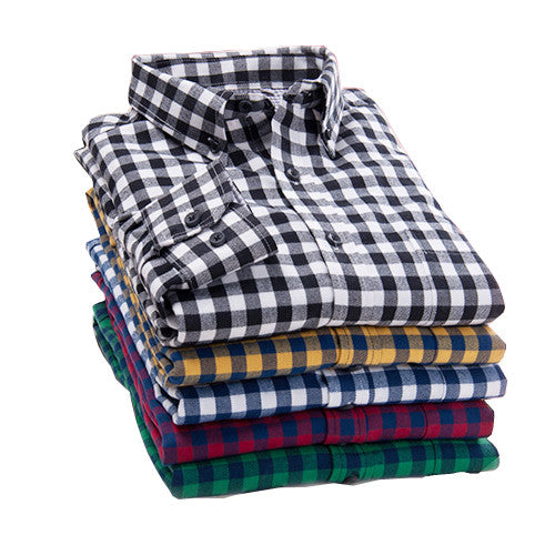 2016 spring plaid shirt male long-sleeved shirt plus