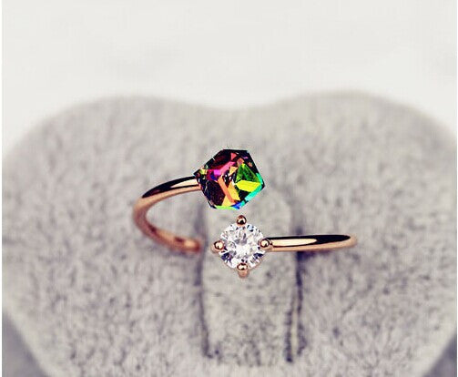 18K Rose Gold Plated Fashion Design Twin Zircon Stone Engagement Rings - Gifts Leads