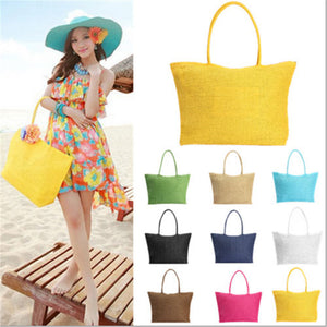 2016 Hot New Design Straw Popular Summer Style Weave Woven Shoulder Tote Shopping Beach Bag Purse Handbag Gift FreeShipping