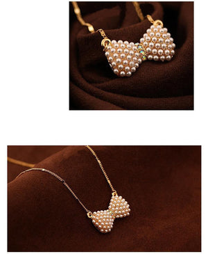 New Design Fashion High quality Double pearl bow pendant necklace Statement jewelry for women 2016